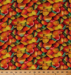 Cotton Mango Mangoes Allover Tropical Fruit Orchard Kitchen Food Festival Cotton Fabric Print by the Yard (482MULTI)