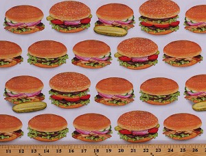 Cotton Hamburgers Burgers Barbeque BBQ Picnic Cookout Food Chow Time Cotton Fabric Print by the Yard (AMKD-19782-202-AMERICANA)