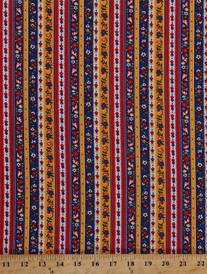 Cotton Dutch Flowers Floral Stripes Striped Red Blue Yellow Holland Netherlands Dutch Cotton Fabric Print by the Yard (lena-c9045-multi)