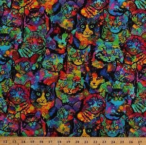 Cotton Cats Colorful Paint Splatter Animals On Black