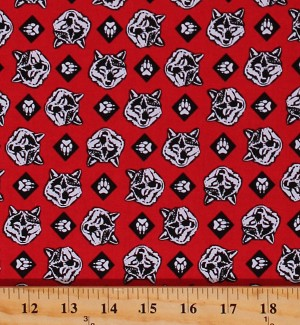 Cotton Cub Scouts Boy Scouts Wolf Wolves Paws Allover Pattern Red Cotton Fabric Print by the Yard (C7205-RED)