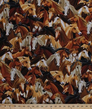 Cotton Horses Horse Portraits Equestrian Animals Cotton Fabric Print by the Yard (michael-c4562-natural)