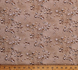 Cotton Sand Seashells Sea Shells Starfish Beach Summer Landscape Medley Cotton Fabric Print by the Yard (555SAND)