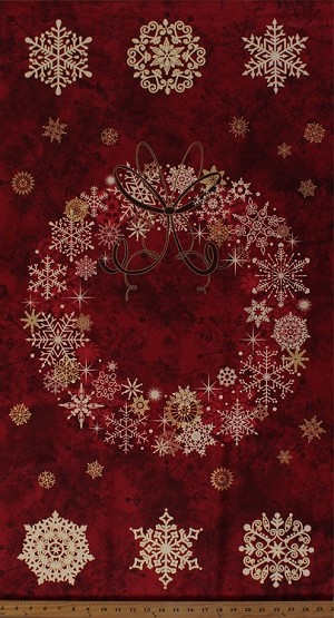 "23.5"" X 44"" Panel Stonehenge Christmas Wreath Starry Night 2 Snowflakes Holiday Festive Stars Red Cotton Fabric By the Panel (20341m-25 Red)"