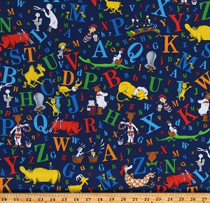 Cotton Dr. Seuss Alphabet ABC's Books Animals Blue Cotton Fabric Print by the Yard (ADE-74350-9-Navy)