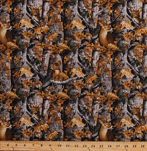 Cotton Realtree Woods Deer in Camo Camouflage Trees Leaves Outdoors Hunting Nature Animals Wildlife Cotton Fabric Print by the Yard (9908)