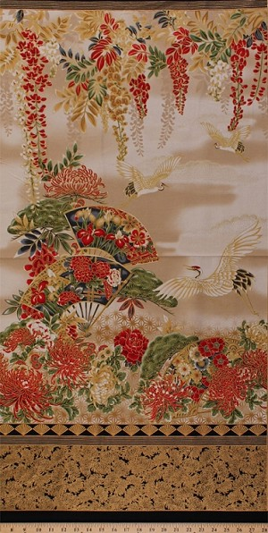 "23.5"" X 44"" Panel Japanese Cranes Fans Birds Flowers Floral Blossoms Travel Cream Red Asian Imperial Collection Metallic 14 Cotton Fabric Panel (SRKM-17664-3RED)"
