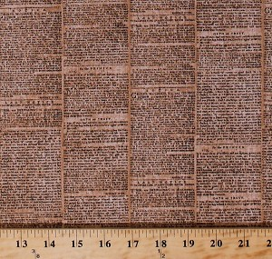 Cotton City Chic 2 Newspaper Newsprint Words Tan Natural Cotton Fabric Print by the Yard (ano-15703-14-natural)