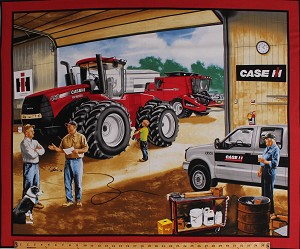 "35"" X 44"" Panel Case International Harvester Garage Truck Tractor Farmer Farmers Country Cotton Fabric Panel (10002)"