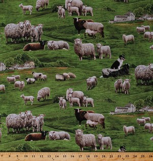 Cotton Farm Animals Sheep Herd Collies Dogs Field Pasture Scenic Green Cotton Fabric Print by the Yard (360-green)