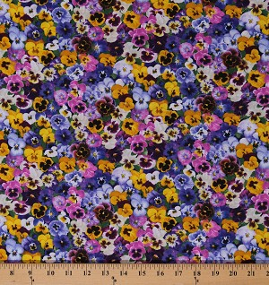 Cotton Colorful Pansies Pansy Flowers Floral Purple Pink Yellow Green Garden Spring Cotton Fabric Print by the Yard (FLEUR-C7571)
