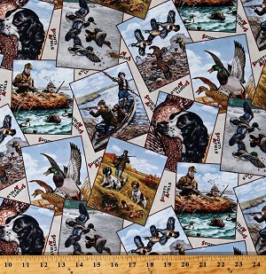 Cotton Hunting Postcards Dogs Spaniels Ducks Game Hunting Hunters Huntsman Sports Afield Cream Cotton Fabric Print by the Yard (8402CREAM)