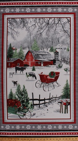 "24"" X 44"" Panel Holiday Homestead Christmas Winter Country Scene Red Barn Farm Cows Snow Festive Cotton Fabric Panel (1611P-89r)"