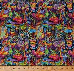 Cotton Cats Cat Breeds Animals Pets Colorful Graffiti Felines Allover Crazy for Cats Multi-Color Cotton Fabric Print by the Yard (10239)
