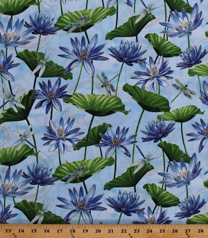 Cotton Dragonflies Waterlily Pool Dragonfly Dance Light Blue Metallic Gold Cotton Fabric Print by the Yard (8499M-51)