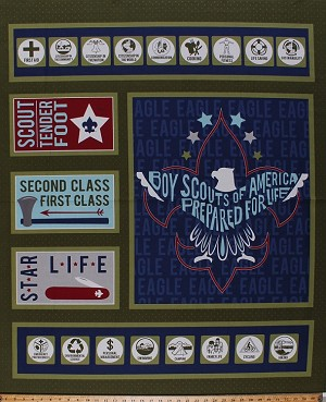 "36"" X 44"" Panel Boy Scouts of America Emblem Eagle Scouts BSA Skills Achievements Awards Merit Badges Modern Scouting Cotton Fabric Panel (P6205-GREEN)"