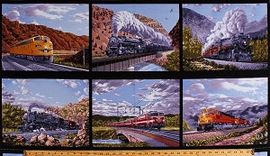 "23"" X 44"" Panel Trains Train Engines Railways Railroads Steam Engines Electric Diesel Locomotives Scenic Landscape Travel Transportation Blocks on Black Locomotion Cotton Fabric Panel (B-9469-99)"