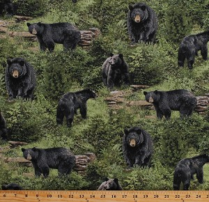Cotton Black Bears Animals Northwoods Wildlife Nature Scenic Wilderness Born Free Green Cotton Fabric Print by the Yard (112-32001)