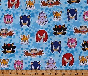 Cotton Sonic the Hedgehog and Friends Tails Knuckles Blaze Video Games Kids Blue Cotton Fabric Print by the Yard (AXX-73952-4BLUE)