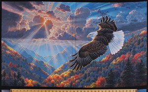 "24.5"" X 44"" Panel Soaring Eagle Bald Eagle Sunset Mountains Hills Birds Nature Scenic Northwoods Landscape Patriots Patriotic Digital Cotton Fabric Panel (AQHD-17634-202-AMERICANA)"