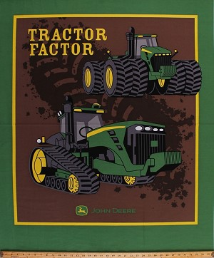 "36"" X 44"" Panel Tractor Factor John Deere Tractors Farming Agriculture Country Green Brown Kids Cotton Fabric Panel (64088-6470715)"