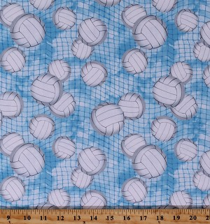 Cotton Volleyball Balls Volleyball Nets Allover on Blue Sports Balls Volleyball Nets Allover on Blue Sports Cotton Fabric Print by the Yard (GAIL-C7042-BLUE)