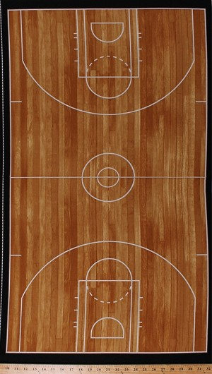 "23.5"" X 44"" Panel Hardwood Basketball Court Diagram Floor Layout Foul Lines Arcs Perimeters Key Zones Athletes Athletics Sports Life 3 Brown Cotton Fabric Panel (SRK-14618-16BROWN)"