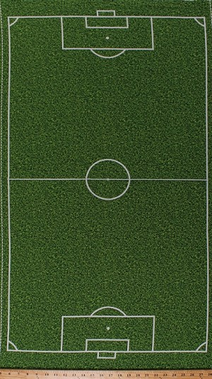 "23.5"" X 44"" Panel Soccer Field Grass Turf Playing Field Diagram Layout Penalty Area Lines Football Pitch Sports Life 3 Green Cotton Fabric Panel (SRK-14616-47grass)"