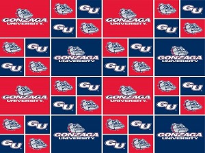 Cotton Gonzaga University Bulldogs College Team Cotton Fabric Print - sgonzaga020s