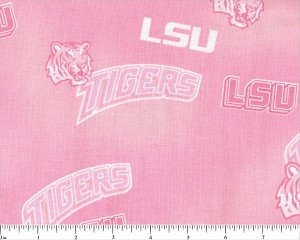 Cotton Pink LSU Louisiana State University Tigers College Team Sports Cotton Fabric Print by the Yard (lsu128)