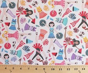 Cotton Cheerleading Cheerleaders Go Team Pom Poms Uniforms Megaphone White Cotton Fabric Print by the Yard (gail-c3159)