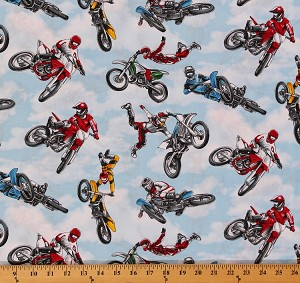"1 FAT QUARTER (18"" x 22"") Cotton Motocross Motorcycles Racing on Blue Sports Cotton Fabric GM-C1592 Sky FQD668.36"