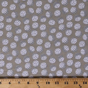 Cotton Volleyballs Balls Allover on Tan Sports Varsity Cotton Fabric Print by the Yard (C7430-TAN)