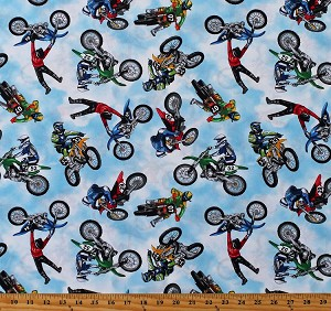 Cotton Dirt Bikes Motorcross Motocross Motorbikes Motorcycles Bikers Racing Sports Cotton Fabric Print by the Yard (GM-C8993-Multi)