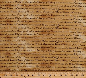 Cotton United States Constitution Quotes Patriotic Preample We the People Defenders of Freedom Words on Tan USA America Fourth of July Cotton Fabric Print by the Yard (112-10922)