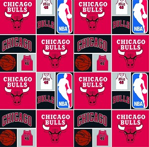 Cotton Chicago Bulls NBA Pro Basketball Sports Team Cotton Fabric Print by the yard (83chi0001a)