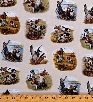 Cotton Hunting Scenes Ducks Pheasants Game Shooting Birds Dogs Spaniels Hunters Sports Afield Cream Cotton Fabric Print by the Yard (8401CREAM)