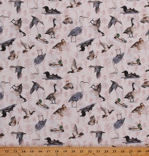 Cotton Birds Water Fowl Ducks Geese Loons Herrons Cotton Fabric Print by the Yard (Y2745-1 White)