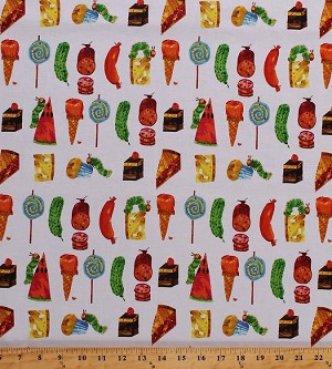 Cotton Food Cake Pies Sausages Muffins Cheese Icecream Cones Lollipop Pickle Picnic Summer Vacation Kitchen Insects Chalk-Look The Very Hungry Caterpillar Eric Carle Encore Cotton Fabric Print by the Yard (5282M)