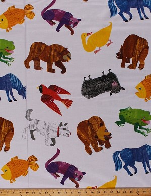 Cotton Bears Dogs Birds Sheep Horses Cats Frogs Fish Ducks Cardinals Farm Wild Animals on White Chalk-look Brown Bear, Brown Bear What Do You See? Eric Carle Kids Cotton Fabric Print by the Yard (P0260-3872-M)