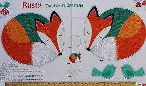 "23.5"" X 44"" Panel Rusty and Friends Fox Pillow Kids Cotton Fabric Panel (06009-99)"