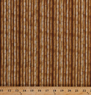 Cotton Bamboo Bamboo Stalks Landscape Plains of Africa Fabric Print By the Yard (4213-17335)