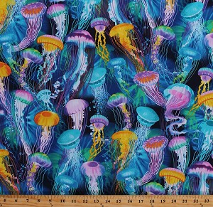 Cotton Jellyfish Jellies Ocean Sea Aquatic Animals Nautical Water Blue Multi-Color Cotton Fabric Print by the Yard (MICHAEL-C6146-AQUA)