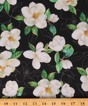 Cotton Magnolias Flowers Floral Leaves Landscape Black Cotton Fabric Print by the Yard (04252-K)