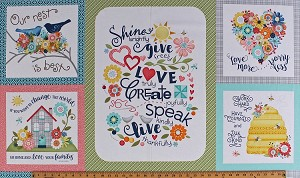 "24"" X 44"" Panel Home Grown Inspirational Quotes Sayings Honeybees Flowers Floral Hearts Birds Love Family Faith Nancy Halvorsen Multi-Color Blocks Cotton Fabric Panel (06801-99)"