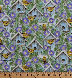 Cotton Hydrangea Birdsong Birdhouses Birds Finches Flowers Scenic Cotton Fabric Print by the Yard (1756-67)