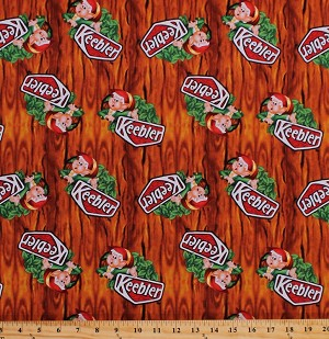 Cotton Keebler Logo Elf Elves in the Hollow Tree Cookies Crackers Snacks Food Kitchen Baking Wood Grain Bark Landscape Cotton Fabric Print by the Yard (59400-2160715)