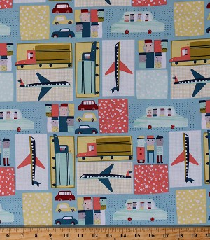 Cotton Airplanes Planes Cars Trucks Travel Transportation Kids Move Along Cotton Fabric Print by the Yard (CX7651-MINT-D)