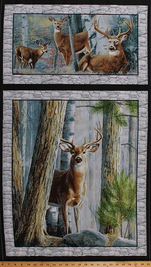 "23.75"" X 44"" Panel Deer Whitetailed Deer Animals Wildlife Nature Northwoods Hunting Country In the Woods Cotton Fabric (1649-26045-K)"