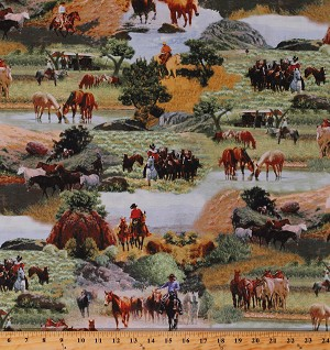 Cotton Cowboys Horses Horse Herds Western Scenes Ranch Equestrian Country Animals Happy Trails Cotton Fabric Print by the Yard (51530-X)